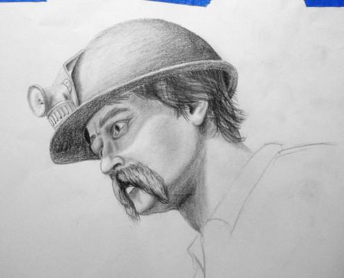 Grass-Valley-Illusionsmalerei-Minenarbeiter-Zeichnung-Charakterstudie